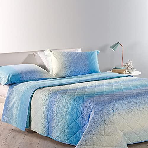Caleffi Tagesdecke, gesteppt, Doppelbett, Farbverlauf 260_x_270_cm Kornblumenblau