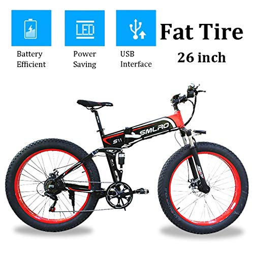 Folding Electric Bikes with 350W Motor 48V 14Ah Detachable Li-ion Battery 26inch Wide Tire Electric Bicycle with LCD Display and USB Interface (Color : RED, Size : 48V-10Ah)