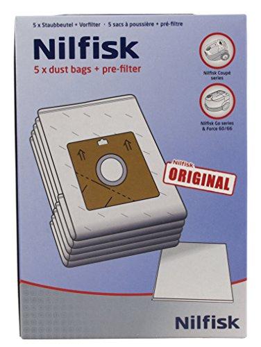 Nilfisk 78602600 Bolsas aspiradoras y prefiltros, Blanco, paquete con 5 unidades