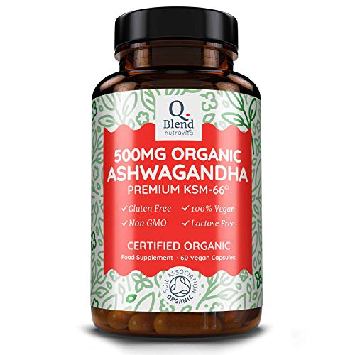 Ashwagandha Bio 100% - Premium KSM 66 Herbe Ayurvédique - 500mg Végan Ashwanghanda Gélules - Ginseng Indien Avec 5% Withanolides - Fabriqué au Royaume-Uni par Nutravita