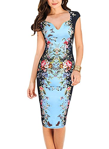 oxiuly Women's Print Formal Work Sheath Cotton Party Evening Cocktail Dress X160 (L, Blue)