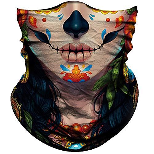 Obacle Skull Face Mask for Women Men Dust Wind UV Sun Protection Seamless Bandana Face Mask for Rave Festival Motorcycle Riding Biker Outdoor Running 3D Tube Mask (Human Face Black Nose Tear Lips)