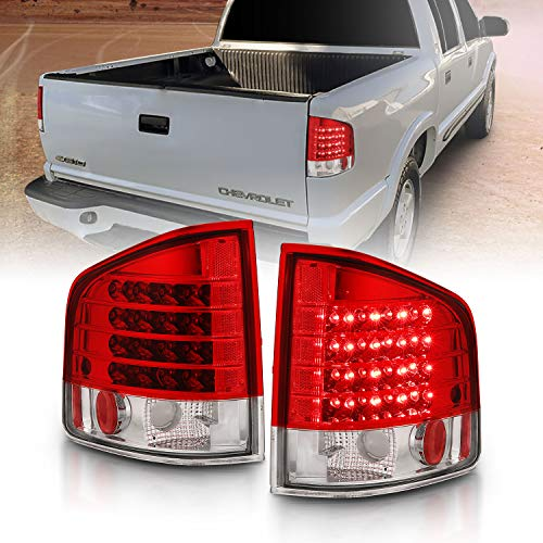 AmeriLite Red/Clear LED Replacement Brake Tail Lights Set for Chevy S-10 / G.M.C Sonoma - Passenger and Driver Side