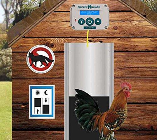 FINCA CASAREJO Puerta automática para gallineros - Motor Premium + Puerta Aluminio - programación horaria y Sensor de luz Solar