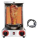 Li Bai Shawarma Machine Kebab Grill Gas Vertical Broiler Gyro Meat Rotisserie with 2 Burner for Restaurant Home Garden(Registered Design Patent)