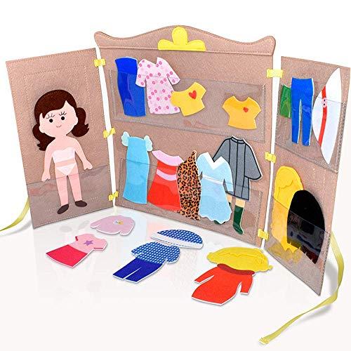 DeFieltro El Armario Amarillo de Fieltro - Armario Cambiador Muñecas - Ropero para Muñeca de Vestir con Ropa y Accesorios - Juguete Casa de Muñecas para Niñas