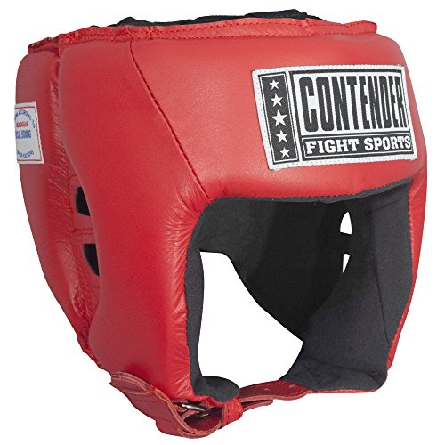 Contender Fight Sports Competition Boxing Muay Thai MMA sparring Head Protection Headgear without cheeks, unisex, Red