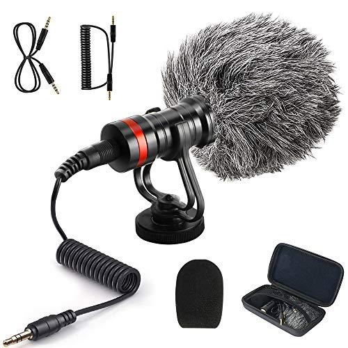 Plartree VideoMicro Micrófono de Condensador con Soporte a Prueba de Golpes, Micrófono de Video Universal para Videocámara/Cámara/Teléfono Inteligente, Compatible con Nikon, Canon, Sony