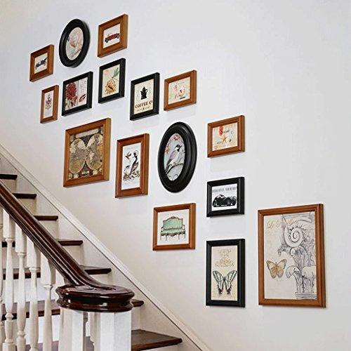 Mobeka fotolijsten foto muur onregelmatige houten fotolijst trap gang zorg oude muur decoratie foto muur set A+