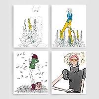 パリのセクシーな女の子のファッションドレス壁アートキャンバス絵画北欧のポスターとプリントサロン装飾壁の写真リビングルーム  40x50cmx4-(フレームなし)