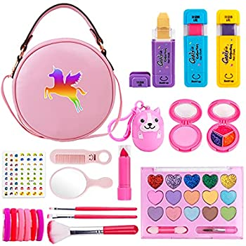Meland Girls Makeup Kit - Real Makeup Palette Set with Purse Hair Chalks Lipstick/Blush/Brush - My First Purse Toy Gift for Princess Little Girls Toddlers - Makeup Set for Girls Birthday Christmas