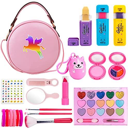 Funplus Kinder-Make-up-Set für Mädchen, 23-teiliges waschbares Kosmetik-Set mit Einhorn-Make-up-Tasche, Haarkreide, Make-up-Palette, Geburtstag für kleine Mädchen Prinzessin