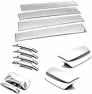 TX Racing Shipping from USA Stainless Polished Pillar Post + Mirror + Handle + Tailgate for 2014-2018 Chevrolet Silverado/GMC Sierra 1500/2500/3500 Crew Cab ONLY