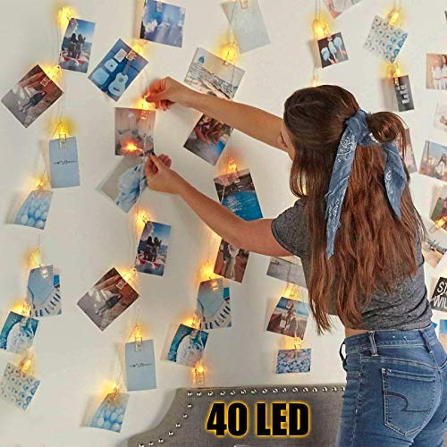 Photo Clips String Lights, BIGHOUSE 4.5M 40 LED Photo Pegs Fairy Lights Battery Powered with 40 Clips, Cooper Wire Hanging String Photo Frames Decoration for Bedroom Wedding Party Christmas