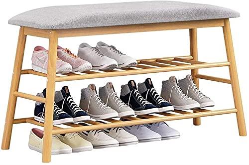 DAFEICHUAN Estante de zapatos, Banco de zapatos de madera de 2 niveles Gabinete de almacenamiento de zapatos Ahorro de espacio Organizador de estante para zapatos para armario Dormitorio del pasillo d