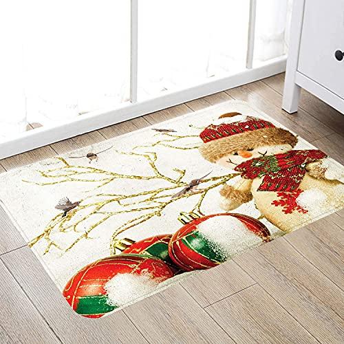 Alfombra de baño súper Suave de 50 x 80 cm,Muñeco de Nieve Colores navideños nevado, Beige Rojo marrón Verde, Rosa Azul, Alfombra de baño Absorbente Antideslizante