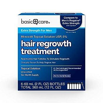 Amazon Basic Care Minoxidil Topical Solution USP 5 Percent Hair Regrowth Treatment for Men Extra Strength 12 Fluid Ounces