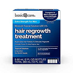 Amazon Basic Care Minoxidil Topical Solution USP, 5% Hair Regrowth Treatment for Men 12 Fl Oz