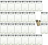 gouveo 24er Set Einmachgläser 'Quadrat' 314 ml incl. Drehverschluss Silber, Vorratsgläser,...