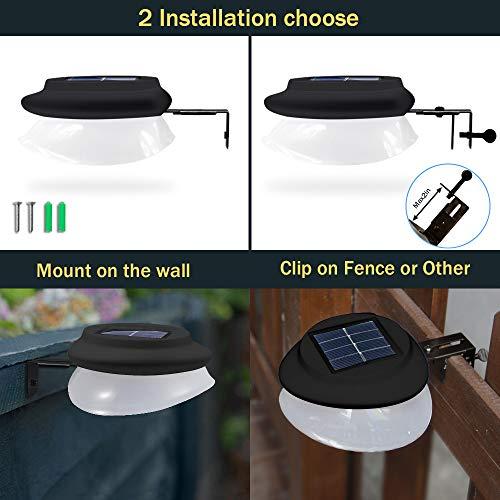 DBF Solar Gutter Lights Upgraded 9 LED Outdoor Waterproof Fence Lights Dark Sensing Auto On/Off Solar Landscape Lights for Eaves Garden Deck Yard Pathway, (100LM-Cool White)