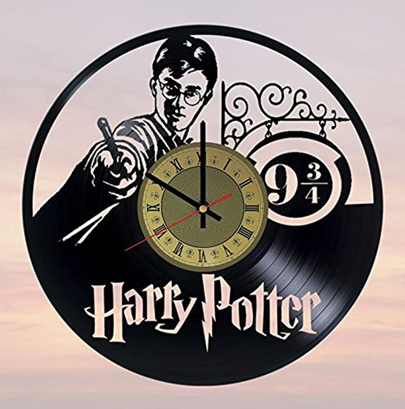 Pieceful Harry Potter Hogwarts Vinyl Record Wall Clock Gryffindor Clock Gift Idea For Birthday Christmas Women Men Friends Girlfriend Boyfriend And Teens Living Kids Room Nursery Gold Black