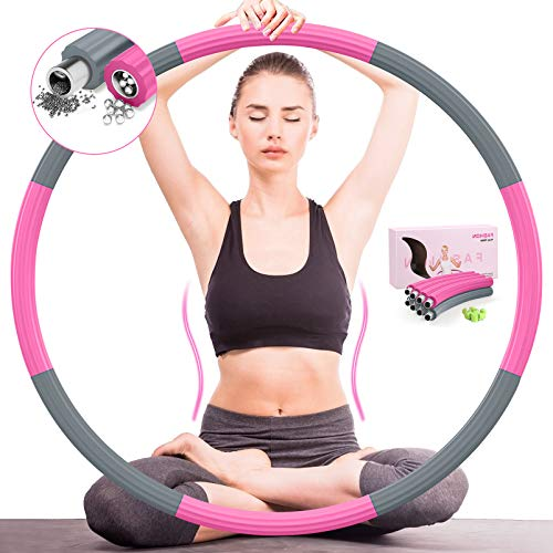 DUTISON Hoop Reifen Erwachsene Fitness - Upgrade Version 90% Stabilität,8 Knoten Abnehmbares Design und Frei Einstellbares Gewicht Fitness Hullahub Reifen Aus Verzinktem Stahlrohr 1,2 kg (Grau Rosa)