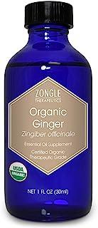 Zongle USDA Certified Organic Ginger Essential Oil, Safe To Ingest, Zingiber Officinale, 1 OZ