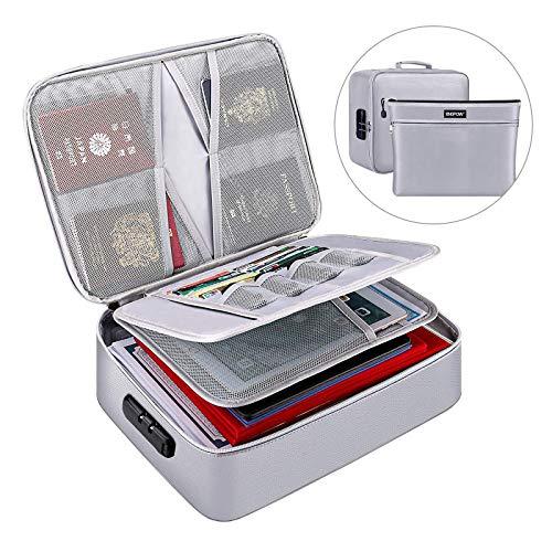 Caja de almacenamiento de documentos ignífugo, con cerradura de código secado, almacenamiento de archivos multicapa, gran capacidad para certificado, tarjeta bancaria, contrato, archivo