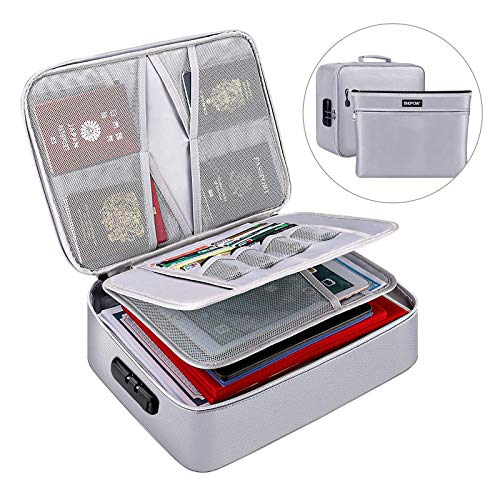 File Storage Box Fireproof Document Bag Organizer with Safe Code Lock Large Capacity Multi-Layer File Storage for Diploma,Certificates,Laptop,Bank Cards,Passport,Contracts,Bill,Notebook,Archives,Album