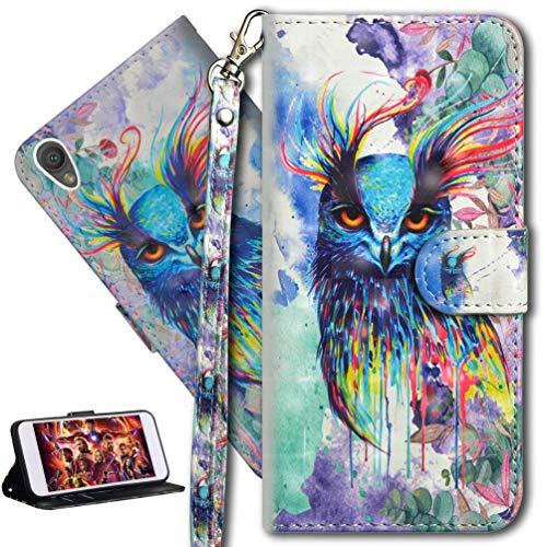 HMTECH Sony Xperia L1 Hülle 3D Süßes Bunte Owl Flip Standfunktion Karten Slot Magnetverschluß Brieftasche Taschen Schalen Handy Ledercase für Sony Xperia L1,Colorful Owl