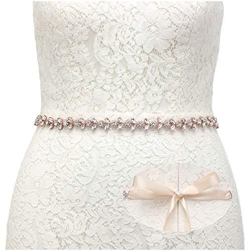 SWEETV Strass Hochzeit gürtel Kristall Braut gürtel Schärpe für Brautjungfernkleider Ballkleid Abendkleider, Rose Gold