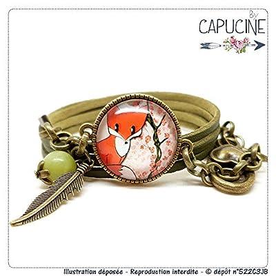 Bracelet kaki avec cabochon verre motif renard - bracelet breloques, plume bronze - bracelet multi-rangs - bracelet Sieur Renard - cadeau de noël, cadeau saint valentin, cadeau fête des mères