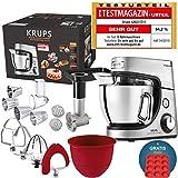 Robot de cuisine Krups Premium 17 pièces, bol inox 4,6 l, bol silicone, 4 malaxeurs inox, lavable en lave-vaisselle, 1 100 W, embouts découpe, hachoir, recettes gratuites, moule 12 cupcakes offert
