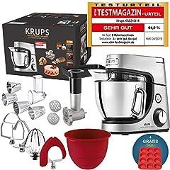 Krups Robot de cuisine Premium 17 parties, 4,6L bol en acier inoxydable, bol en silicone, 4 outils d'agitation Inox, résistant au lave-vaisselle, 1100W, escalope, hachoir à viande, recettes gratuites et 12 cupcakes forme