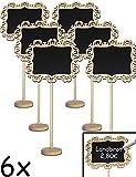 HomeTools.eu - 6X Klassische Holz-Tafeln mit Stand-Fuß beschreibbar, Namens-Schilder, Preis-Schilder, Memo-Tafeln, Buffet, Weihnachten, Hochzeit, Deko, Vintage Landhaus, 20cm, Barock, 6er Set