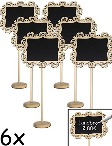 Home Tools.EU®–6x clásica mesa pizarra madera con Stand de pie escribir   Buffet, Fiesta, Fiesta, Boda, Decoración, Landhaus Vintage, Barroco, Juego de 6