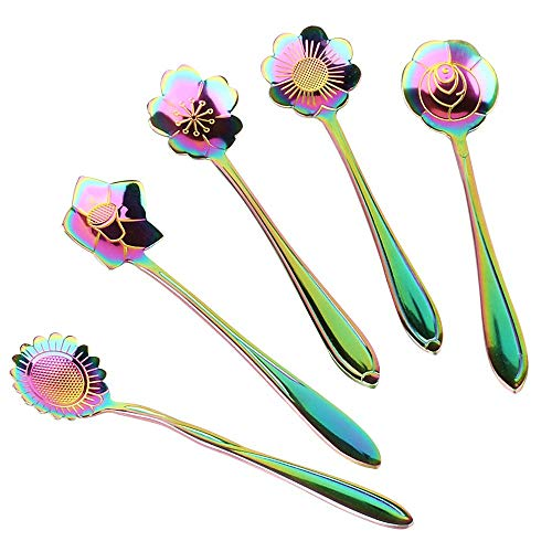 Flower Spoon Set 5pcs, XJSW Stainless Steel Teaspoon Colorful Coffee Spoon Tea Spoon Mixing Spoon Sugar Spoon, Set of 5, Rainbow