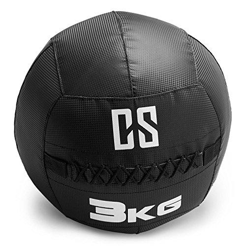 CapitalSports Bravor Balón Medicinal PVC 3 Kg (Entrenamiento del Core, Funcional y Cross, Resistente Acabado Robusto, Cosido Doble) - Negro
