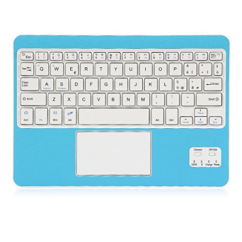 Coastacloud Tastiera Wireless Bluetooth 3.0 Tastiera Wireless per Portatile e Leggera con QWERTY Italiano Layout Tastiera e touchpad (Blu)