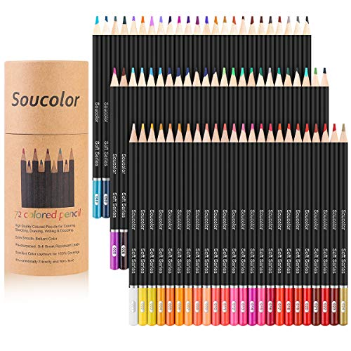 Soucolor 72Color Colored Pencils Soft Core Art Coloring Drawing Pencils for Adult Coloring Book SketchCrafting Projects 72Colors