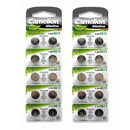 20x Camellion AG13 L1154 LR44 A76 157 V13GA Alkaline Batterie (20 Stück)