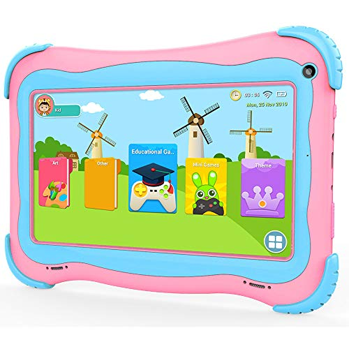 Kids Tablet PC Large Battery 7 Inch Games Android Kids Tablets with 1G Ram 16GB Storage Safety Eye Protection IPS Screen Premium Parents Control Pre-Installed Educational APP Google Play