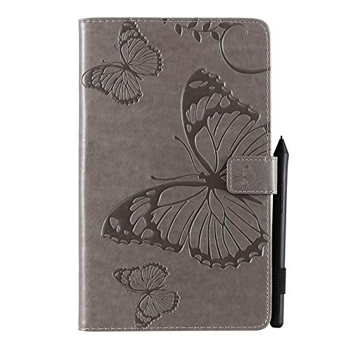 Tanxinxing For Samsung Galaxy Tab A 8 2019 SM-T290/SM-T295 Butterfly Flower Floral Pattern PU Leather Wallet Stand Tablet Case (Color : Gray)