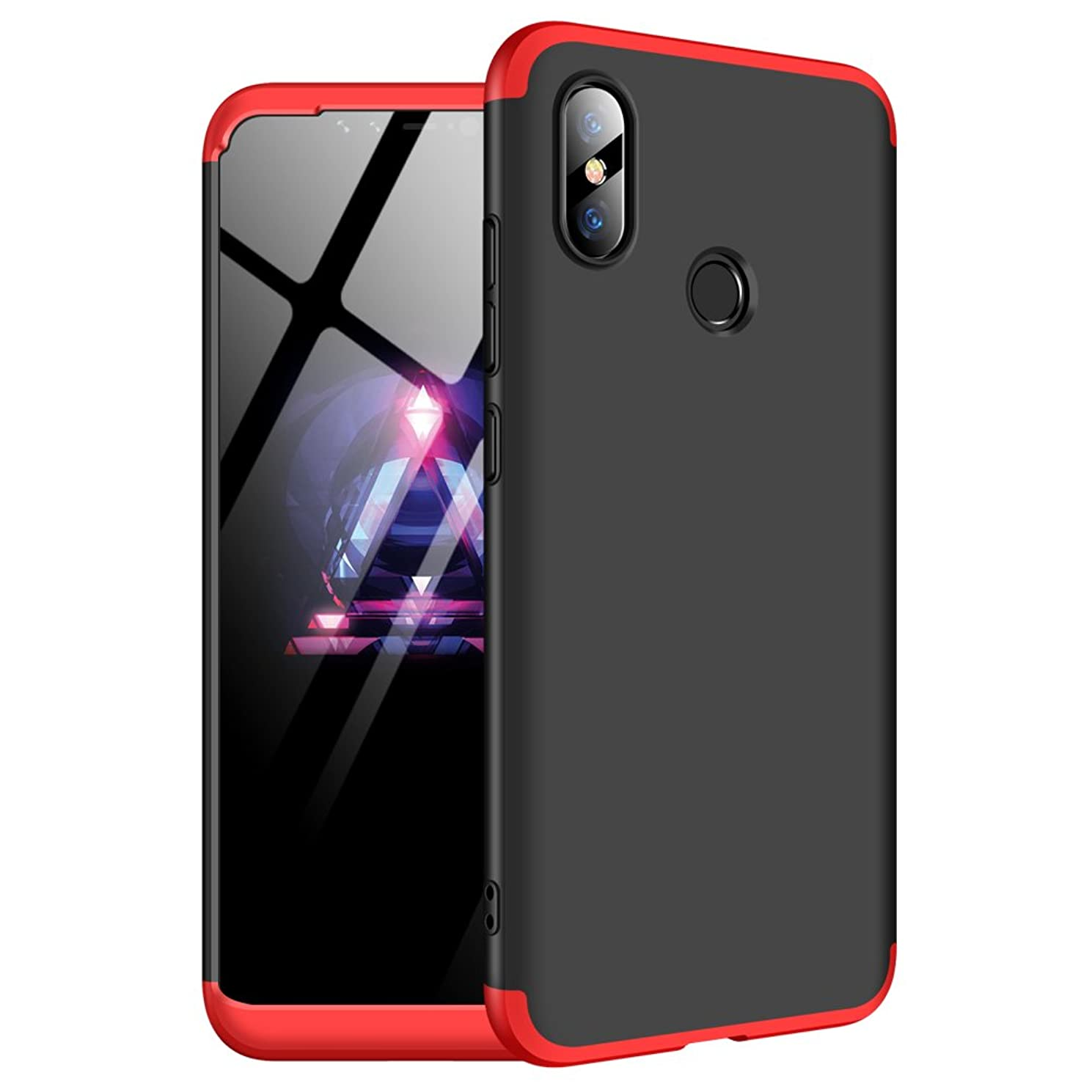 Case Compatible with Xiaomi MI8 Case 3 in 1 Smooth Hard PC Fit Bumper Protection for Xiaomi MI8 Cover 2018 (Black+red, Xiaomi MI8)