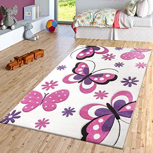 TT Home Alfombra De Habitación Infantil con Diseño De Mariposas En Crema Fucsia Lila, Größe:80x150 cm