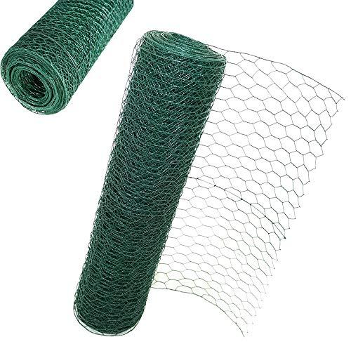 Efan Valla hexagonal de malla de alambre de 60 cm x 25 m, revestimiento de PVC, malla de alambre de pollo, malla de alambre de jardín, tamaño del agujero: 50 mm