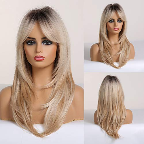 HAIRCUBE Long Blonde Wigs for Women, Layered Synthetic Hair Wig with Dark Roots for Daily Party