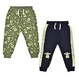 STAR WARS Lucasfilm Baby Yoda 2 Pack Jogger Pants Set for Boys, Printed Drawstring Waist Sweatpants, Size 12M Green
