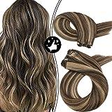 Moresoo 24Inch Hair Bundles Human Hair Extensions Highlight Color #4 Brown Highlight with #27 Caramel Blonde Sew in Human Hair Weave 100g/set Full Head Hair