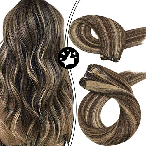 Moresoo 24Inch Hair Bundles Human Hair Extensions Highlight Color #4 Brown Highlight with #27 Caramel Blonde Sew in Human Hair Weave 100g/set Full Head Hair